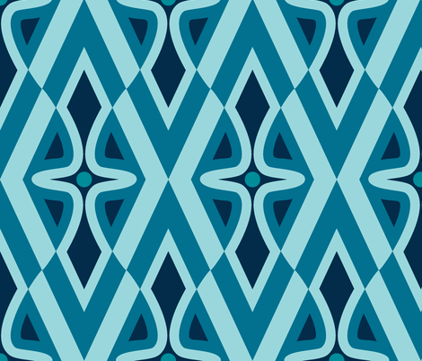 wiggly, blue fabric by hannafate on Spoonflower - custom fabric