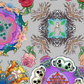 Tatoo Mandala of Living and Dying in Color on Grey