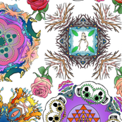 Tatoo Mandala of Living and Dying in Color on White
