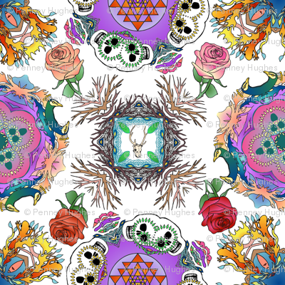 Tattoo Mandala of Living and Dying in Color on White