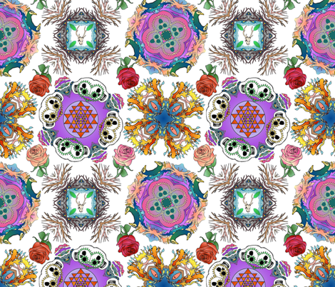 Tattoo Mandala of Living and Dying in Color on White fabric by bloomingwyldeiris on Spoonflower - custom fabric