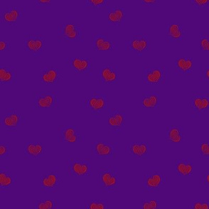 Purple With Red Hearts