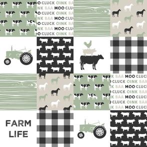farm life - light sage green and tan - patchwork farming fabric