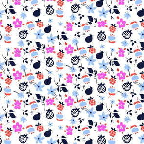 Flowers and fruits fresh pattern