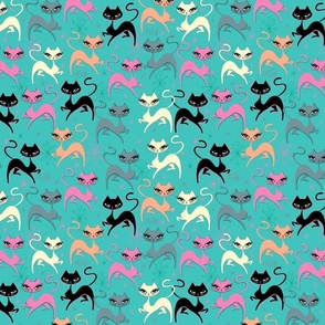 MOD PRANCING KITTEN-FABRIC-BLUE