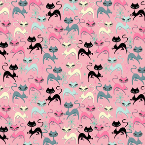 PRANCING KITTEN-FABRIC-PINK