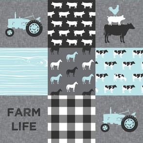 farm life - farm patchwork fabric - blue and grey linen