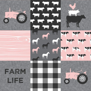 farm life - farm patchwork fabric - p and grey linen
