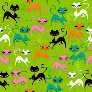 PRANCING KITTEN-FABRIC-GREEN