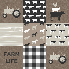 farm life - farm patchwork fabric - browns