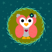Little night owl-coral/teal/olive green