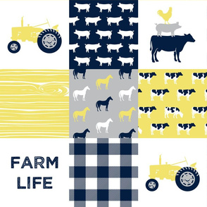 farm life - patchwork farm fabric - yellow and navy