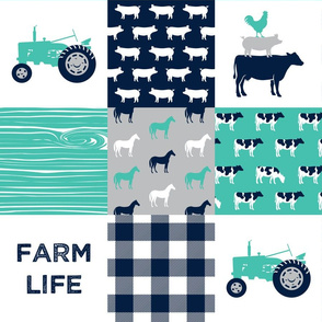 farm life - patchwork farm fabric - custom teal and navy