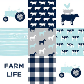 farm life - patchwork farm fabric - baby blue and navy