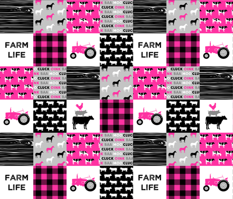 farm life - farm patchwork fabric - bright pink and black fabric by littlearrowdesign on Spoonflower - custom fabric