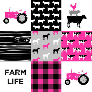farm life - farm patchwork fabric - bright pink and black