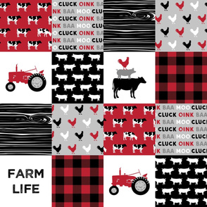 farm life patchwork - red and black - farming nursery - roosters