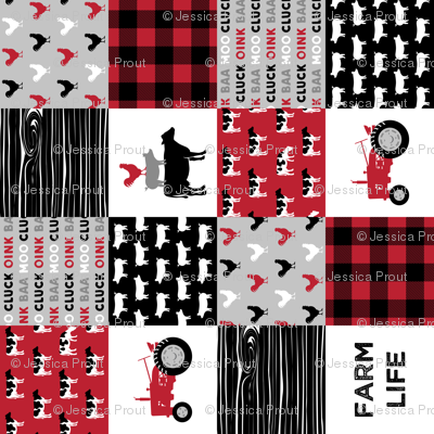 farm life - farming patchwork - red and black with rooster