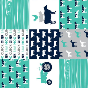 farm life - patchwork farm fabric - custom teal and navy (90)