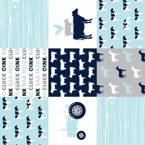 farm life - patchwork farm fabric - baby blue and navy (90)