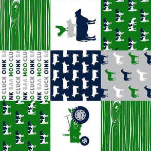 farm life - patchwork farm fabric - green and navy (90)