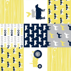 farm life - patchwork farm fabric - yellow and navy (90)