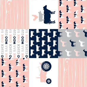 farm life - patchwork farm fabric - pink and navy (90)