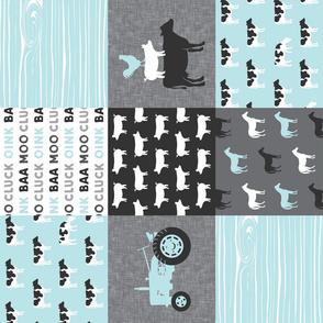 farm life - farm patchwork fabric - blue and grey linen (90)
