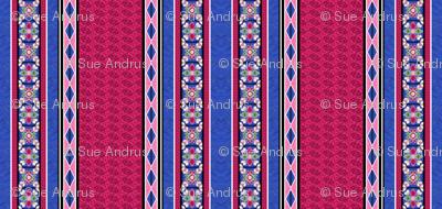 Tile Border Print 2in Blue Rose White