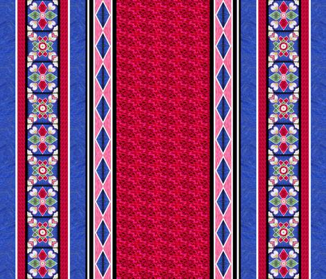 Tile Border Print 2in Blue Rose White fabric by andrusgardens on Spoonflower - custom fabric