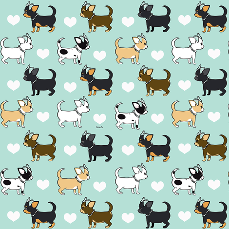 Chihuahuas Love aqua girls S fabric by catialee on Spoonflower - custom fabric