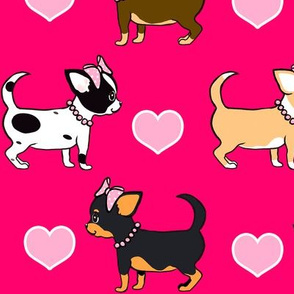 Chihuahuas Love hot pink gilrs M