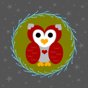 Little Night Owl-red/grey/olive green