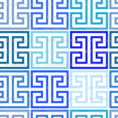 Greek Keys in Monochrome Blue Multi