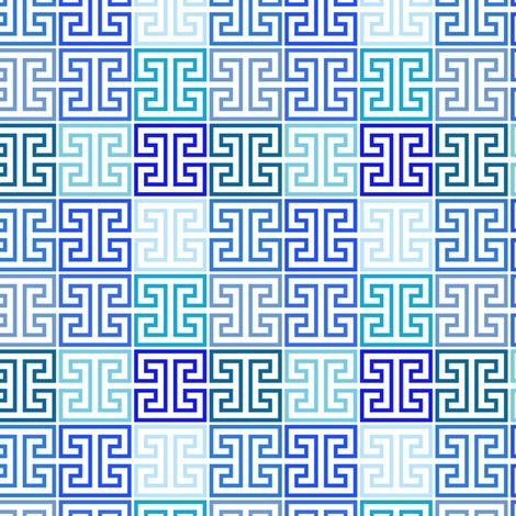 Greek Keys in Monochrome Blue Multi fabric by elliottdesignfactory on Spoonflower - custom fabric