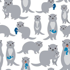 cute gray otters on white background