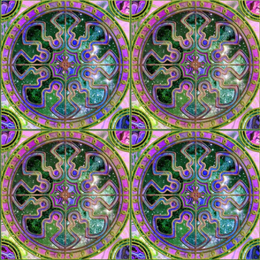 """9"""" Bicolor ASTROSPACE SPANISH TILES PINK EMERALD TURQUOISE"""