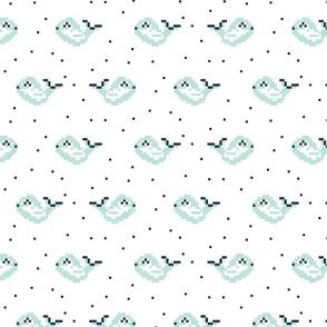 Pixel art blue whales