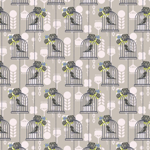 Bird cages and flowers