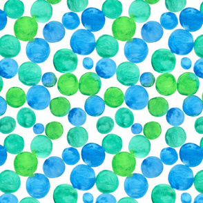Watercolor bubbles pattern blue green. Aquarelle circles design.  BIG