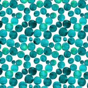 Watercolor bubbles pattern green. Aquarelle circles design.