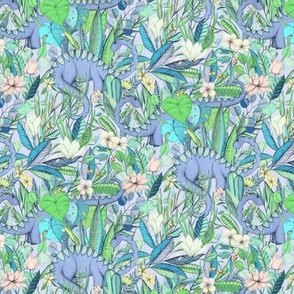 Small scale Improbable Botanical with Dinosaurs - lavender blue