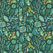 Cactuse and succulent design. Beautiful jungle and desert plants pattern. For Cacti lovers