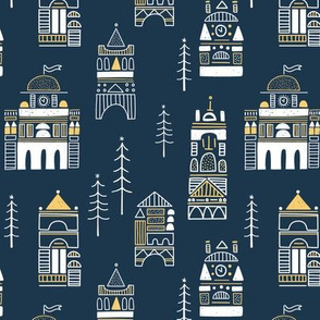 geo town fabric // blue geo trendy hipster bear woodland holiday design