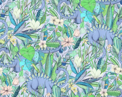 Large scale Improbable Botanical with Dinosaurs - lavender blue