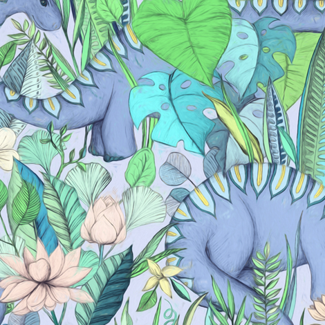 Large scale Improbable Botanical with Dinosaurs - lavender blue fabric by micklyn on Spoonflower - custom fabric