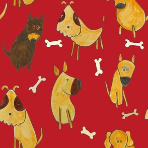 dogs on red background