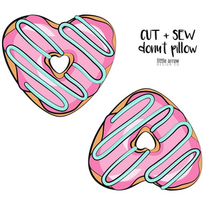 cut and sew heart donut pillow  - pink with aqua icing
