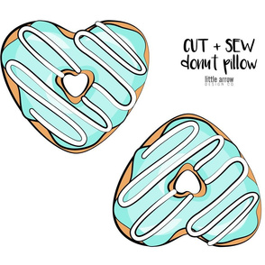 cut and sew heart donut pillow  - aqua with white icing
