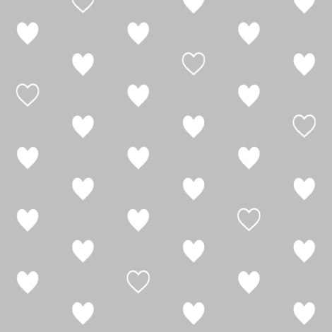White Hearts on Gray – Love Heart Valentines Day fabric by gingerlous on Spoonflower - custom fabric